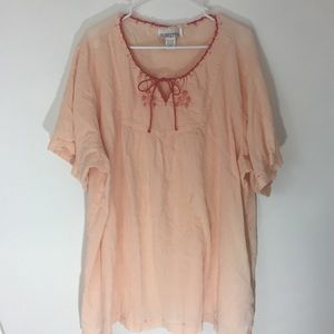 SILHOUETTES 100% Cotton Peach Embroidered Top